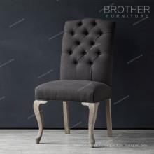 Prix usine nouveau design antique en bois de chêne à manger chaise avec siège en tissu