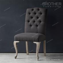 Цена по прейскуранту завода новый дизайн античный дуб дерево обеденный стул с тканевым сиденьем