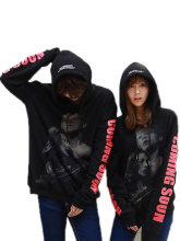 Couple Tops New Fashion Spring Autumn Hooded Long Sleeve Printed Pullover