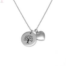 Colgante de árbol de la vida grabado corazón personalizado de acero inoxidable de la vida
