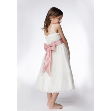 A-ligne à col rond Thé-longueur Organza Ruffled Layers Flower Girl Dresses