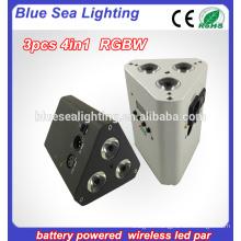 10w 3pcs 4in1rgbw wireless dmx led flat par light