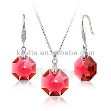 925 silver chain charming ruby pendant jewelry set
