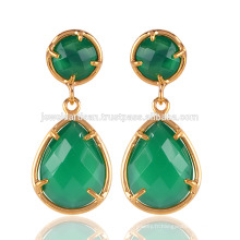 Beautiful Green Onyx Lunette lisse Round & Pear Shape Pendentif en laiton plaqué or 18 carats
