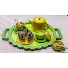 Деревянный зеленый чай играть набор кухня игрушка