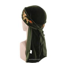 Accessoires de cheveux personnalisés de broderie bandanas turban musulman