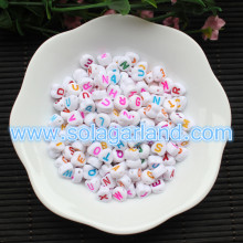 4*7MM White Love Heart Acrylic Alphabet Letter Beads DIY Spacer Beads