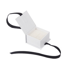 White Custom Printed Paper Earring Box with Ribbon