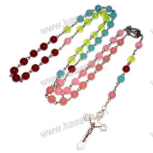 8mm Mixed Fluorescence Color Plastic Beads Rosary