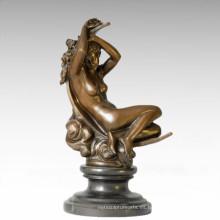 Desnudo figura estatua Luna sueño de la señora escultura de bronce TPE-386
