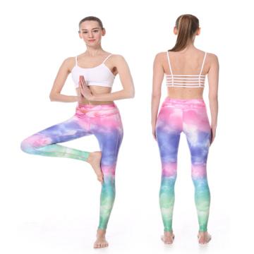 A compressão por atacado vestindo personalizada das calças justas da ioga da sublimação arfa mulheres