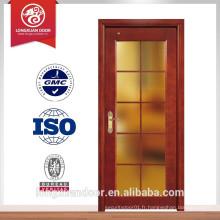 Porte en bois avec portes en verre en verre encadré