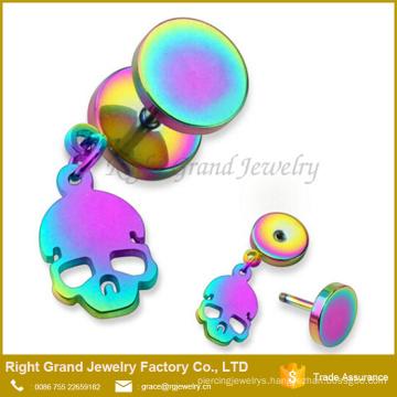 316L Surgical Steel Rainbow Plated Dangle Skull Fake Plug Earrings