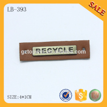 LB393 Brown personalizado metal logo beanie patch de couro