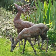 Décoration de jardin en métal artisanat taille bronze sculpture de cerf à vendre