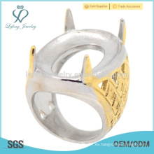 2015 tendencia de oro personalizado acero inoxidable grabado anillos esmeralda venta caliente