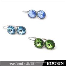 Muy hermosos aretes de cristal azul en el precio de fábrica al por mayor # 21712