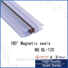 Magnetic rubber strip door seal for glass door