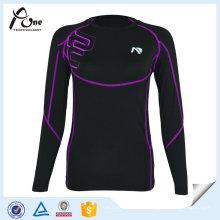 Рубашка с длинным рукавом с заниженной компрессионной рубашкой Spandex Sports Shirts