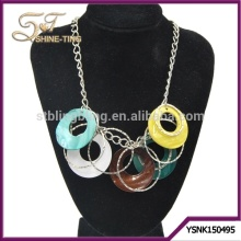 Plating silver jewelry necklace with many shell circles pendant and iron rings