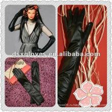 Новый стиль дамы длинные кожаные перчатки платье
