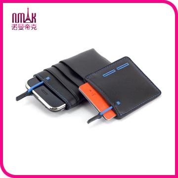 Mini PU Leather Money Clip Slim Design Credit Card ID Holder Black Men′s Wallet