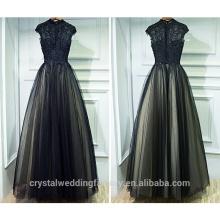 New Arrival Lace Top Vestido De Festa Long Floor Length Chiffon Evening Dress Party Black Long Prom Dresses CWFP2435