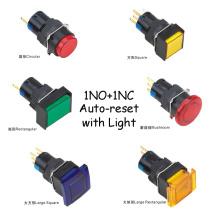Bouton de trou de 16mm étanche 1no + 1nc bouton de réinitialisation automatique avec lampe