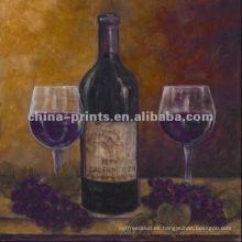 Pintura al óleo hecha a mano del vino
