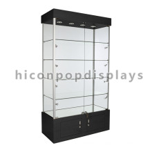 Licor de venta al por menor de la tienda de pie de pie baratos Led iluminación de madera marco de cristal de vino Whisky Display Cabinet