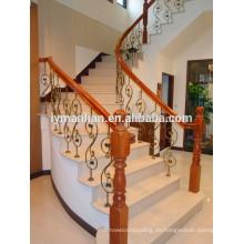 Barandilla de roble rojo antiguo escalera de madera decorativa poste de newel