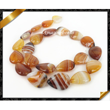 Natural Agate Gemstone Beads, Coffee Striped Teardrop Agate Jewelry (AG005)