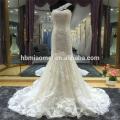 Suzhou Fabrik Versorgung eine Schulter Spitze Perlen Meerjungfrau Spitze Brautkleid mit langen Zug