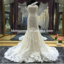Suzhou factory supply one shoulder lace beaded mermaid lace wedding dress with long train
