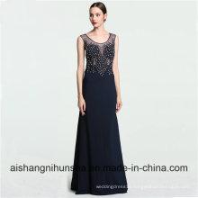 Women Elegant Long Scoop Neckline Mermaid Floor-Length Prom Dress