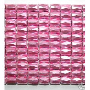 Pink Hematite 18 Faced Tube Beads 5X8MM Grade AB