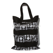 Black cheap tote bags with full color printing/cotton black bag
