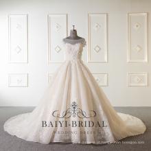 Alibaba sem mangas frisada vestido de noiva de luxo