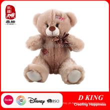 Brinquedo de pelúcia por atacado Urso de pelúcia de pelúcia macia com remendo