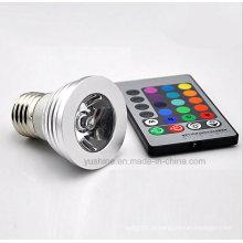 LED RGB Spotlgiht E27 3W com controle remoto
