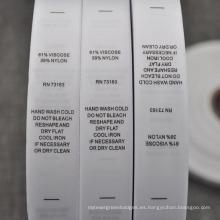 Etiqueta de contenido Instrucciones de lavado Etiqueta impresa en rollo para ropa interior / sujetador