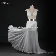 RSW774 Sexy alta-baja falda de metal de oro cinturón de cuentas de cristal para Julie Vino vestidos de novia