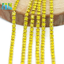 Meistverkaufte Citrin Farbe Strass Dicht Cup Diamante Chain Trim von der Werft für Schuhe, G0107