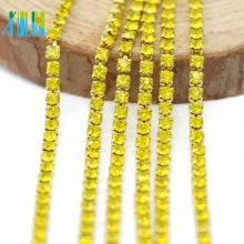 Mejor venta citrino Color Rhinestone Dense Cup Diamante Chain Trim por el patio para zapatos, G0107