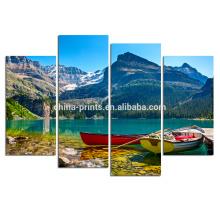 Barco en el lago Impresiones de la lona / paisaje de la pared de la lona del paisaje de Natura / imagen casera de la decoración de la pared