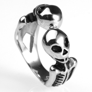 Aliens double head skull bone ring