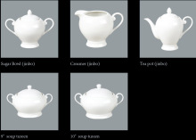 Round Tea Pot, Sugar Pot, Creamer, Soup Tureen