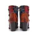 Autumn and winter 2021new high-heeled women's boots cross-strap short thick heel fashion boots leather boots