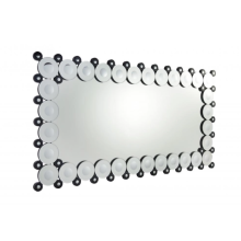 Rectangular bathroom mirror with decorative border