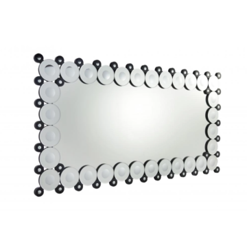Rectangular bathroom mirror with decorative border